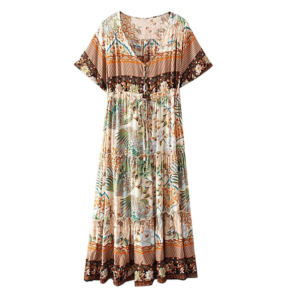 Boho/Gypsy Short Sleeve Pleated Maxi Dress