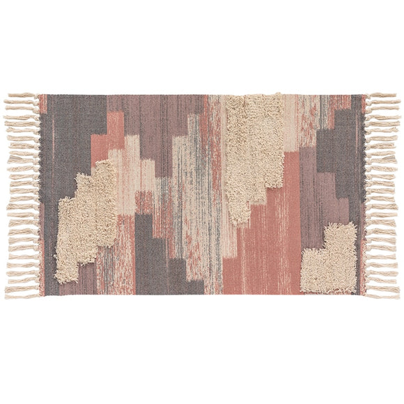Morocco Bohemian Tufting Handmade Tassel Abstract 100% Cotton Area Rug (Red,Blue,Grey)