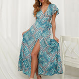 Summer Floral Print Boho Wrap Maxi Dress (10 different prints)