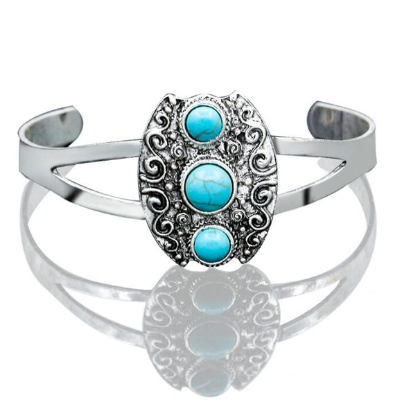 Boho Gypsy Turquoise Carved Cuff Bangle