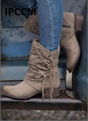 Boho Detailed Suede Tassel Low-heeled Martin Boots Size 34-42