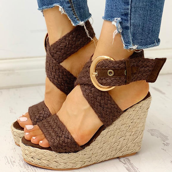 Bohemian Hemp Buckle Platform Sandals (3 Colours)