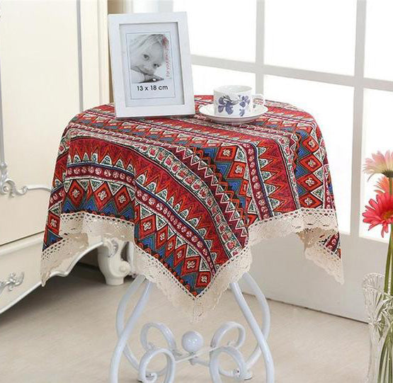Ethnic Style Linen Square Table Cloth with Lace (red or blue)