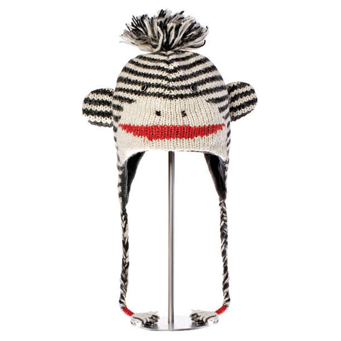 Cute Stripe Sock Monkey Black & White Animal Hat.   Knitwits, Knit Wits, Animal Hats