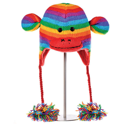 Stripe Sock Monkey Rainbow Animal Hat.   Knitwits, Knit Wits, Animal Hats