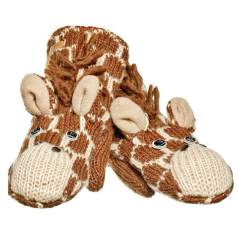 Geoff the Giraffe Mittens.   Knitwits, Knit Wits, Animal Hats