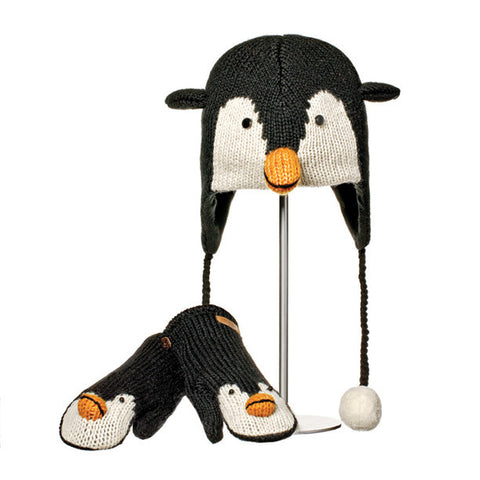 Peppy the Penguin Animal Hat & Mittens Set.   Knitwits, Knit Wits, Animal Hats