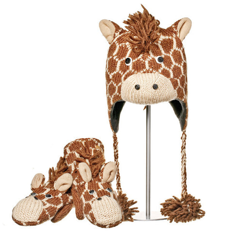 Geoff the Giraffe Animal  Hat & Mittens Set.  Knitwits, Knit Wits, Animal Hats