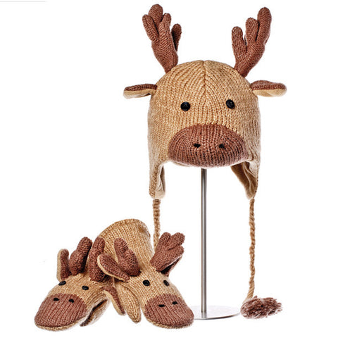 Manny the Moose Animal Hat & Mittens Set.  Knitwits, Knit Wits, Animal Hats