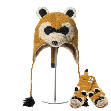 WWF Black Footed Ferret Animal Hat & Mittens Set