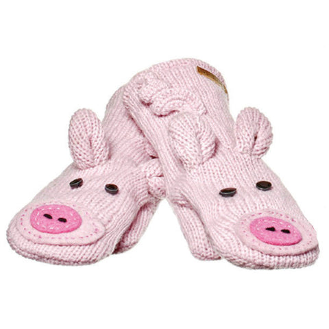 Peaches the Pig Mittens.   Knitwits, Knit Wits, Animal Hats