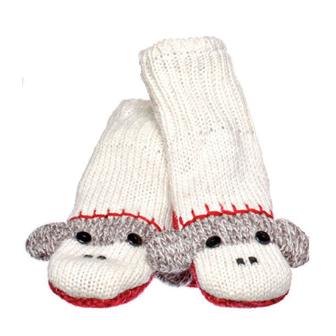 Cute Sock Monkey Mittens.   Knitwits, Knit Wits, Animal Hats