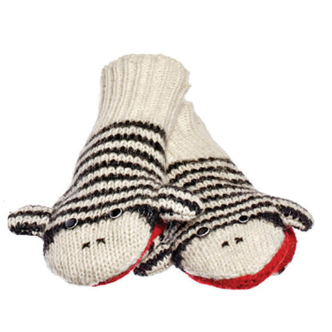 Cute Stripe Sock Monkey Black & White Mittens.   Knitwits, Knit Wits, Animal Hats
