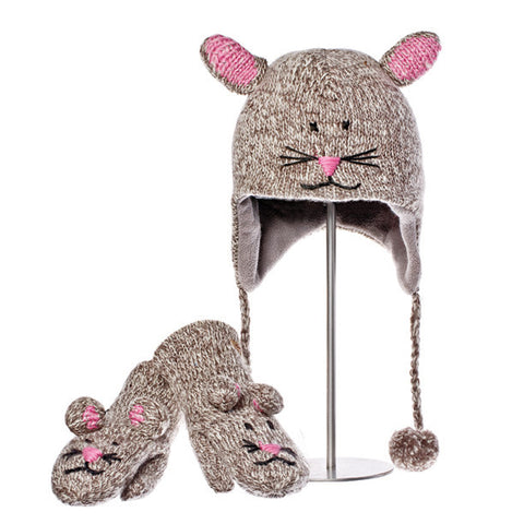 Mimi the Mouse Animal Hat & Mittens Set.  Knitwits, Knit Wits, Animal Hats