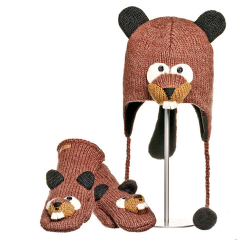 Barkley the Beaver Animal Hat & MIttens Set.   Knitwits, Knit Wits, Animal Hats