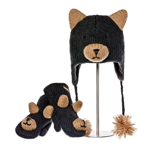 Babu the Black Bear Animal Hat & Mittens Set.  Knitwits, Knit Wits, Animal Hats