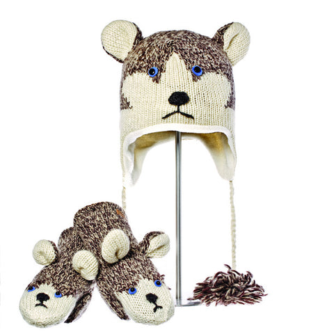 Happy the Husky Animal Hat & Mittens Set.   Knitwits, Knit Wits, Animal Hats