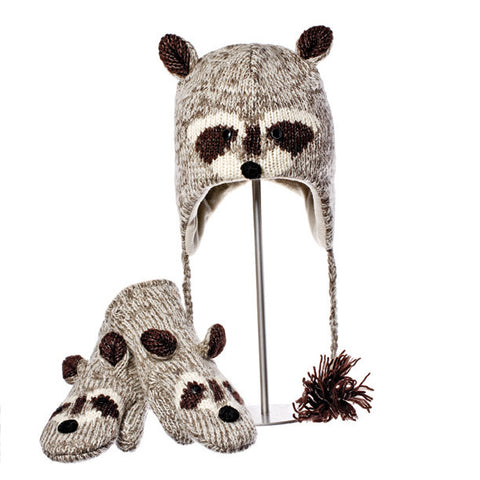 Robbie the Raccoon Animal Hat & Mittens Set.   Knitwits, Knit Wits, Animal Hats