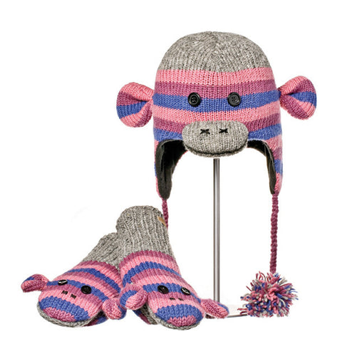 Stripe Sock Monkey Purple Animal Hat and Mittens Set.   Knitwits, Knit Wits, Animal Hats