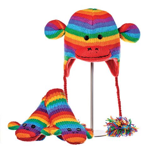 Stripe Sock Monkey Rainbow Animal Hat and Mittens Set.  Knitwits, Knit Wits, Animal Hats