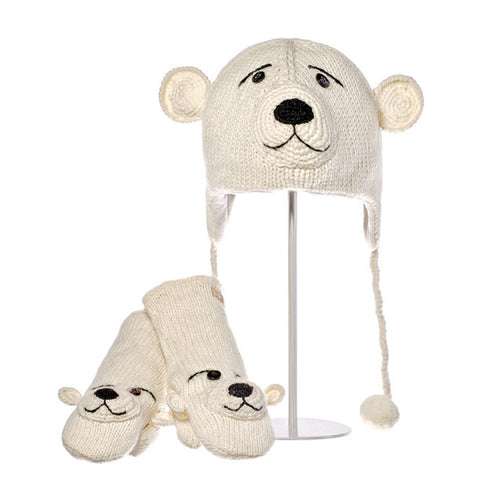 Pee Wee the Polar Bear Animal Hat & Mittens Set.   Knitwits, Knit Wits, Animal Hats