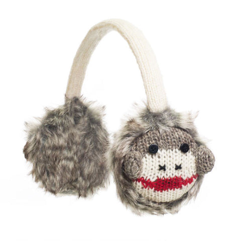 Cute Sock Monkey Earmuffs.   Knitwits, Knit Wits, Animal Hats