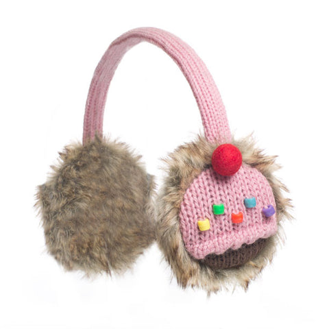 Strawberry Cupcake earmuffs.   Knitwits, Knit Wits, Animal Hats