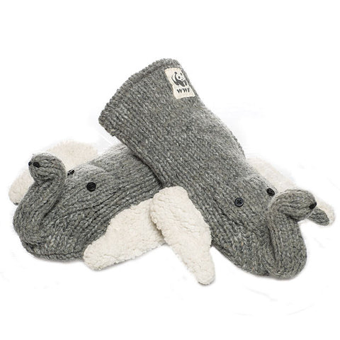 Asian Elephant Mittens.   WWF, Knitwits, Knit Wits, Animal Hats