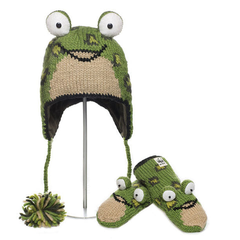 Leopard Frog Animal Hat & Mittens Set.   WWF, Knitwits, Knit Wits, Animal Hats