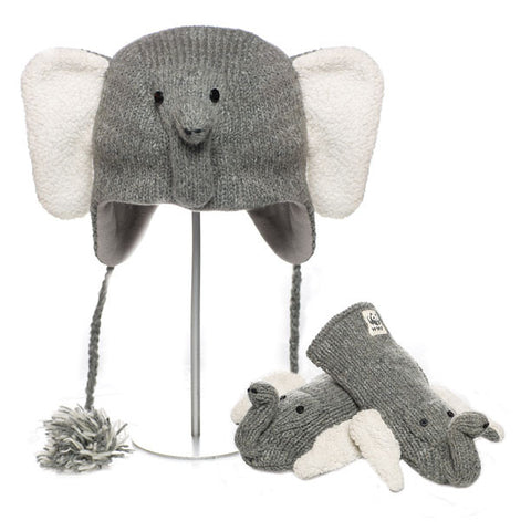 Asian Elephant Animal Hat & Mittens Set.   WWF, Knitwits, Knit Wits, Animal Hats