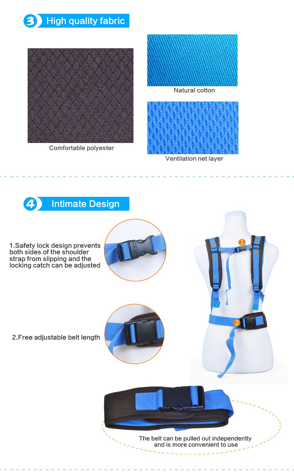 Baby Carrier Harness 4-in-1 Positions Convertible Front Facing 360
