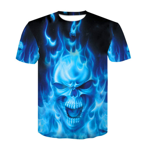 Blue Burning Skull