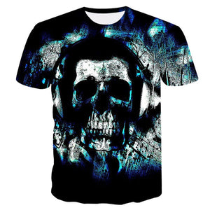 Bluish Audiophile Skull Immersed in Music
