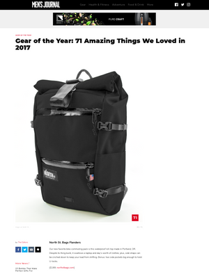 Flanders Backpack featured in Men's Journal Gear of the Year 2017