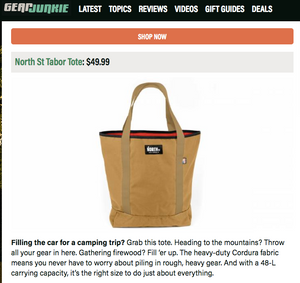 Tabor Tote featured in Gear Junkie's Gifts Made in the U.S.A. Gift Guide
