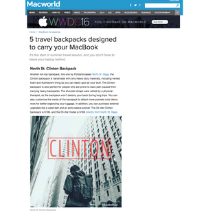 Macworld - Review of the Clinton Backpack