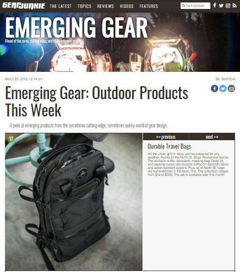 Weekender Travel Series Featured in Gear Junkie's Emerging Gear