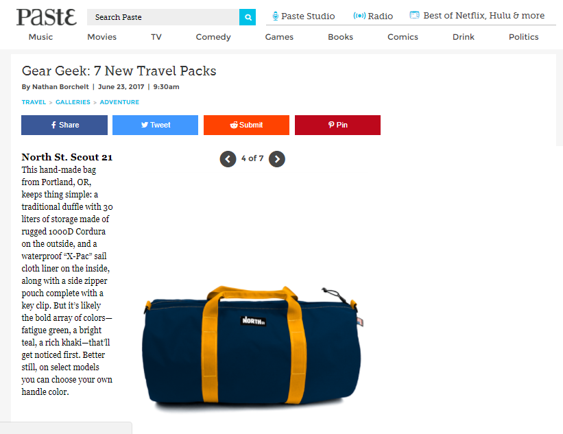 Paste Reviews the Scout 21 Duffle