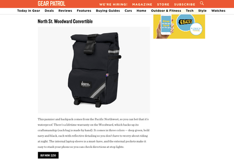 North St. Bags Woodward Convertible Backpack Pannier Made in USA Best Bike Commuting Pannier