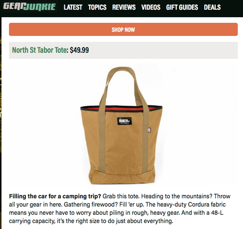 North St. Bags Tabor Tote Featured in Gear Junkie's Gift Guide