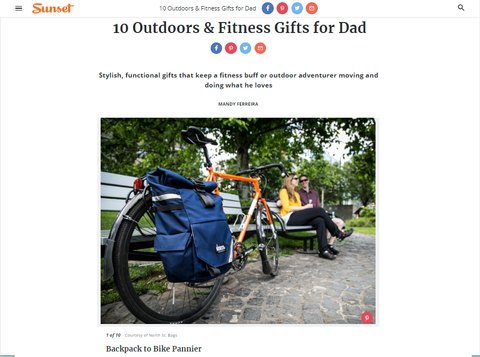 North St. Bags Woodward Backpack Pannier featured in Sunset's Top Father's Day Gifts