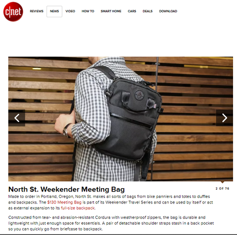 Weekender Meeting Bag featured in Best Laptop Bags and Backpacks CNET