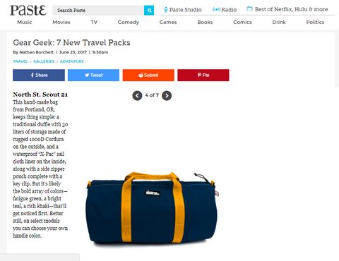 Paste Magazine reviews the Scout 21 Duffle