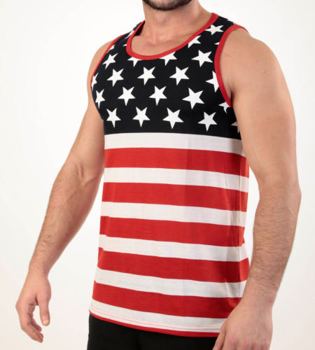 Mens American Flag Tank Top Stars and Stripe Shirt Red White and Blue