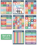 8 Pack of Spanish Learning Posters for Kids