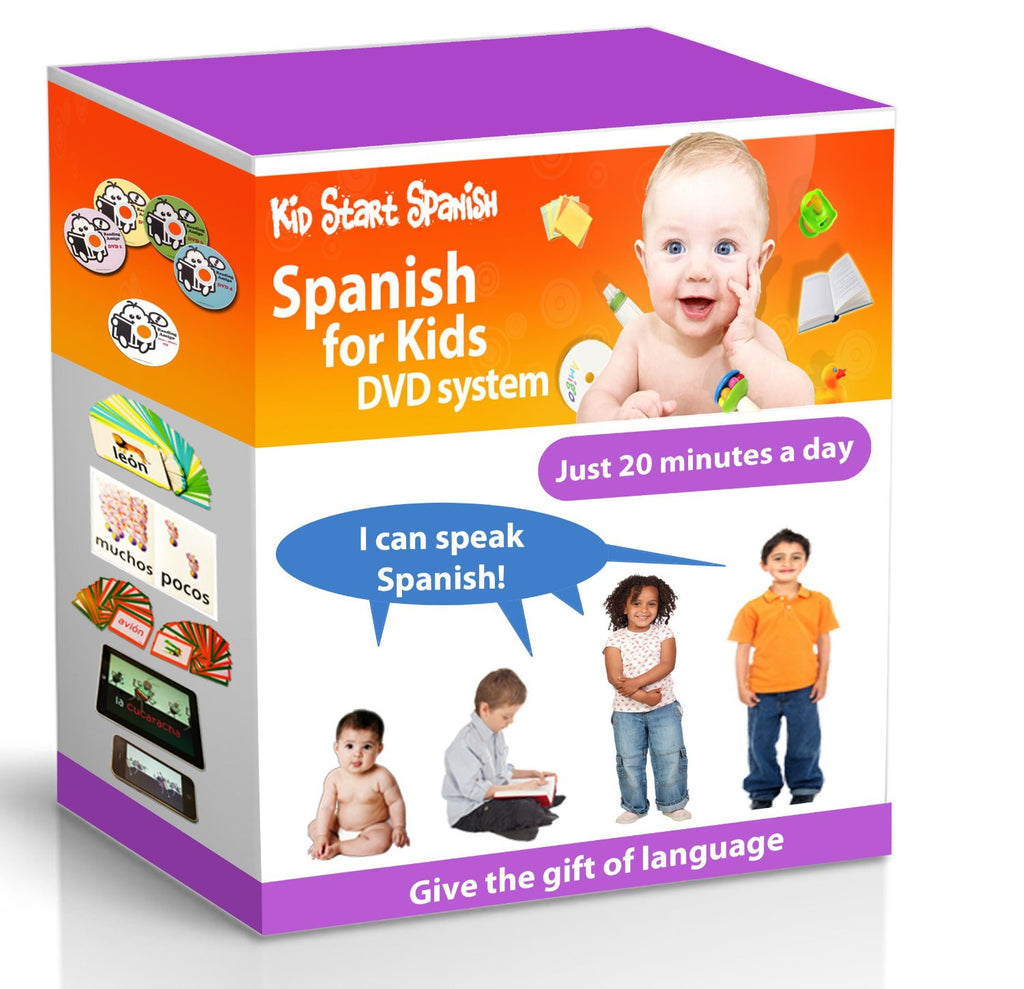 SPANISH FOR KIDS: Early Language Learning System (Spanish in just 20 minutes) Kid Start Spanish - 4 DVDs + Music CD + Large Book + 50 Flashcards + Games + Apps included - Teacher In Spanish