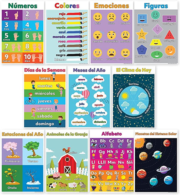 11 Pack of Spanish Educational  Posters
