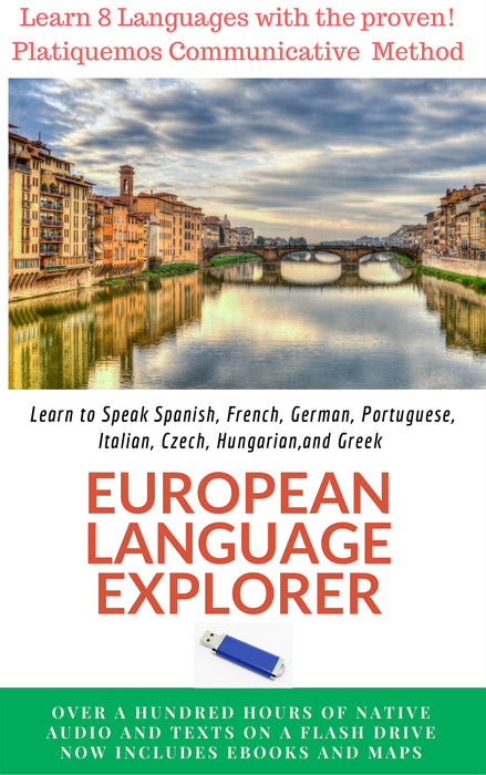 European Language Explorer Flash Drive, Learn Spanish French German Italian Portuguese Czech Greek Hungarian