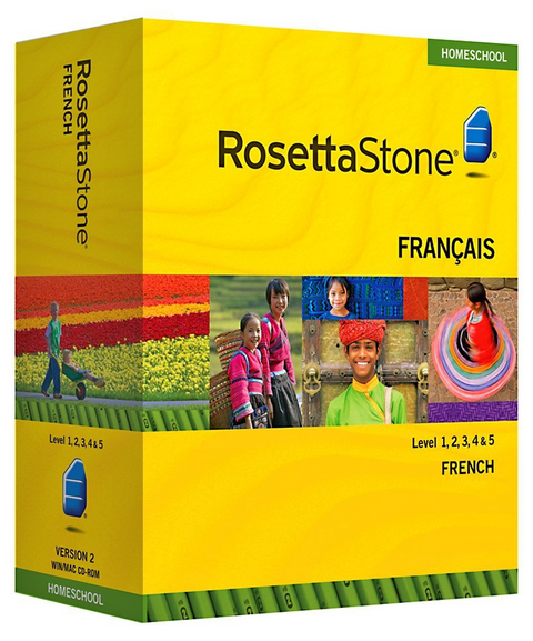 Rosetta Stone® Levels 1 2 3 French  HOMESCHOOL with audio and Headset plus Phrasebook