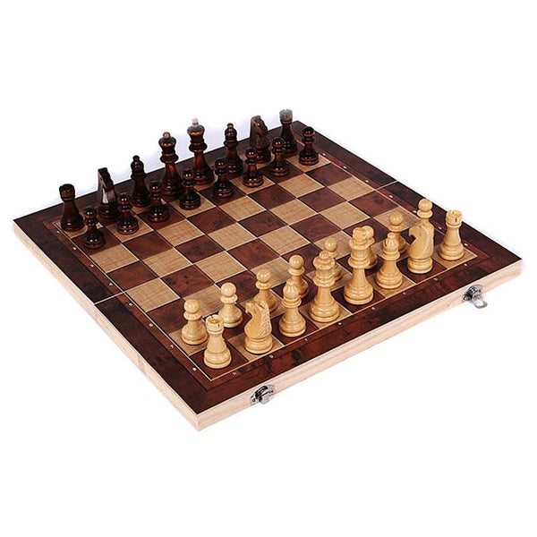 3 in 1 Wooden International Chess Set Board